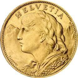 Goldmünze 20 sfr Vreneli Anlagegold nach § 25 UstG mehrwertsteuerfrei